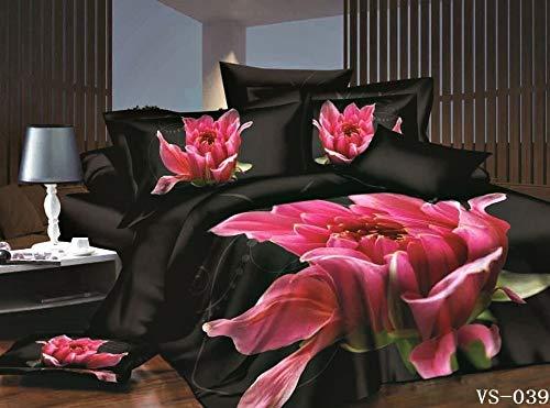 gesetzt 3D doppelte Größe rosa Lilie Bettbezug & Zwei Kissenbezüge Bed Set-Full 4pcs ()