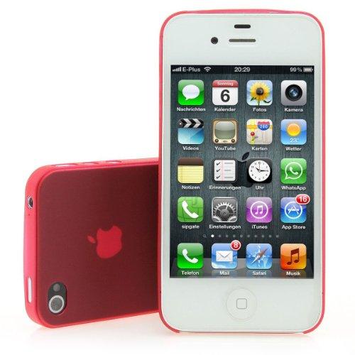 XAiOX) Ultra Fin (Mat Transparent pour Apple iPhone 4et iPhone 4S Avec film de protection en rouge