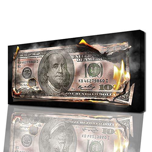 Unternehmer-Wandbild für Erfolg & Motivation – Geldschein, Dollar als Modernes XXL Leinwand-Bild für Büro, Wohnzimmer uvm.