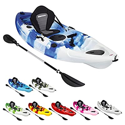 Bluewave Single Sit On Top Fishing Kayak | With 5 Rod Holders, 2 Storage Hatches, Padded Seat & Paddle from Bluewave Leisure