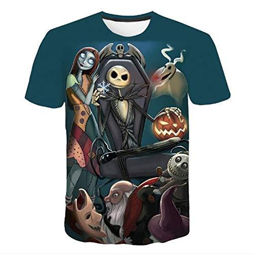 Männer Frühling Sommer Männer T-Shirts 3D Gedruckt Tier t-Shirt Kurzarm Lustige Design Casual Tops Tees Männlich,Halloween Puppe A blau 3XL