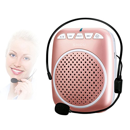 SHIDU SD-S308 Rechargeable Wired Voice Amplifier, 5 Watts Louderspeaker with 1000mAh Lithium Battery for Teachers / Coaches / Tour Guides / Presentations and More (Rose Gold)