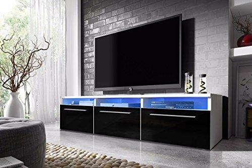 Selsey Lavello - Meuble TV blanc / fronts noir brillant avec LED, 150 cm