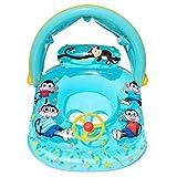 Precioul Baby Schwimmring Baby Schwimmhilfe Baby Pool Schwimmring mit Sonnenschutz - Aufblasbarer Schwimmreifen für Kinder (Blau)