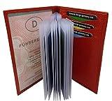 myledershop Büffelleder Ausweisetui/Ausweishülle/Kreditkartenetui MJ-Design-Germany in 3 Farben (Rot)