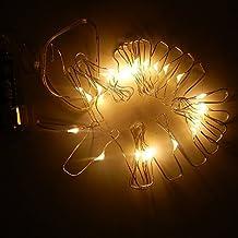 LED guirnalda de 20ledes 2m/6.5FT 3x AA Pilas Luces de Navidad Estrellas Luz Cadenas [Clase energética A +]