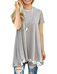 45aaa7b96073 NICIAS Damen Lange Ärmel T-Shirt Pullover Rundhals Spitze Tunika Top  Lässige Oberteil Bluse Shirt