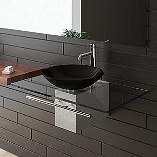 Schwarze Glaswaschschale Ø 46 cm mit Klarglas Waschtischplatte 90 cm und Handtuchhalter von Alpenberger®