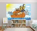 selbstklebende Fototapete - Arche Noah Cartoon - 230x150 cm - Wandtapete – Poster – Dekoration – Wandbild – Wandposter - Bild – Wandbilder - Wanddeko