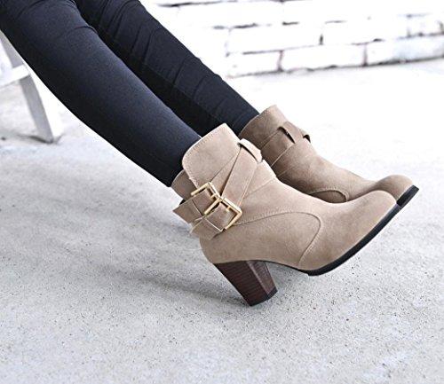 Longra Donne Stivali a forma rotonda a forma di colore solido di colore rosa e scarpe nere, tacchi alti, scarponi Martin Beige