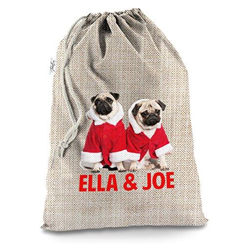 Personalisierte Weihnachts-Mops tragen Santa Kostüm großer Hessischer Weihnachten Santa Sack Mail (Kostüm Baby Großeltern)