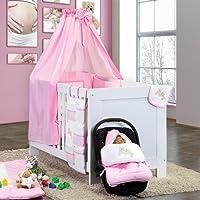 7-tlg. Babybettset Joy inklusive Babyfußsack und Babykrabbeldecke -ROSA- preisvergleich bei kleinkindspielzeugpreise.eu