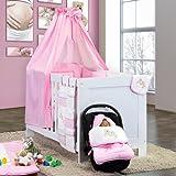 7-tlg. Babybettset mit Stickerei von Joy in rosa inkl. Schlafsack + Fußsack