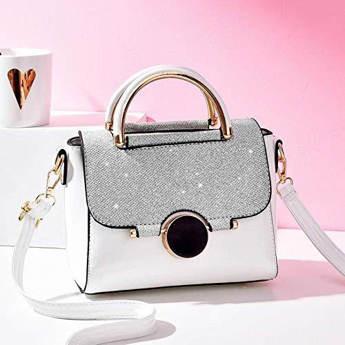YZJLQML Weiblicher BeutelLady bagsFlap Handtasche Flap Lock Schnalle helle Leder kleine quadratische Tasche @White -