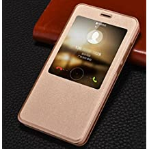 PREVOA ® 丨 Flip PU S - View Funda Case Protictive para Xiaomi Redmi Note 4 Pro Prime 5,5 Pulgadas Sartphone - Oro