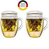 Creano Teeglas all in one mit Filter und Deckel im praktischen 2er Set, 400ml Fassungsvermögen