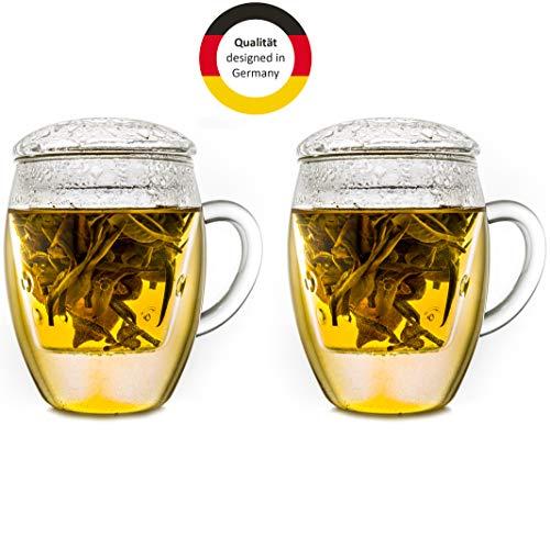 Creano Teeglas All in one mit Filter und Deckel im praktischen 2er Set, 400ml EIN idealer Teebereiter