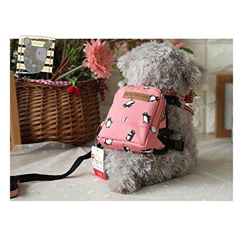 (Geschirr Rucksack verstellbar mit Leine Tasche Rucksack für Welpen kleine Hunde Staubsaugerbeutel Tragbare Haustiere Geschirr Praxis für Außen Kriech Rosa Junge)