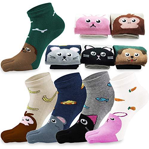REKYO 5 Paar Zehen Socken Baumwolle Kinder fünf Finger Socken niedlichen Cartoon Tiermuster Socken für jungen Mädchen 3-12 Jahre (Tier, 3-7 Jahre)