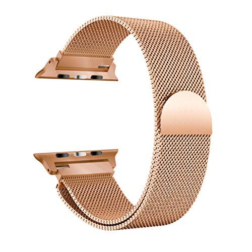 SYY Armband Uhrenband, Edelstahl Magnetic Ersatz Uhrenarmband Herren Damen Universal Armbänder Strap Band Ersatzarmband Uhrenarmband für Apple Watch Serie 4 40MM (Gold 2)