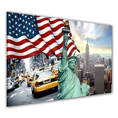 BILDER-MANUFAKTUR, LEINWANDBILDER, KUNSTDRUCK, WANDBILD, BILD, BILDER, 7612-1, NEW YORK USA AMERIKA AMERICA FREIHEITSSTATUE GELBE TAXIS