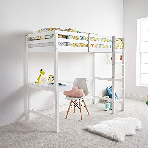 VonHaus Wooden Study Bunk Bed Frame - Stylish 3FT Single Solid Pine High Sleeper with Desk to Maximise Space - Ideal Student Furniture (Mattress not Included)