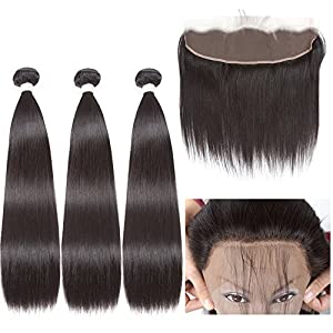 Brazilian Straight With Closure 4 Bundles Straight Human Hair With Frontal 13*4 Lace Closure Straight Natural Color (22 24 24 26+16)…