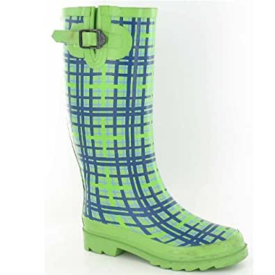 Ladies Green Patterned Funky Wellies Size 8