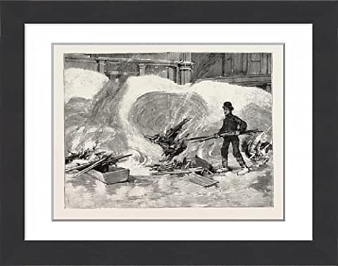 Framed Print Of Blizzard In New York, Burning Holes In The Snow After The Storm, Us, Usa