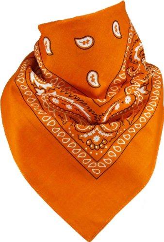 Harrys-Collection Bandana Bindetuch 100% Baumwolle (1 er 6 er oder 12 er Pack), Farbe:orange (Orange Retro 12)