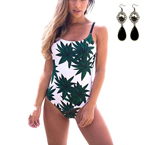 Sitengle Donna Costumi Interi Push up Fionda Stampato Foglie di Bambù Costumi da Bagno Bikinis (Billabong Ragazze Bikini Top)