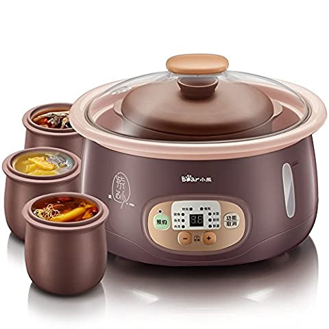 LIUYU Cuisinière électrique lente de 2,5 litres Cuisinière Cuillère 4 Soupe au ragoût de porridge au poêle intérieur