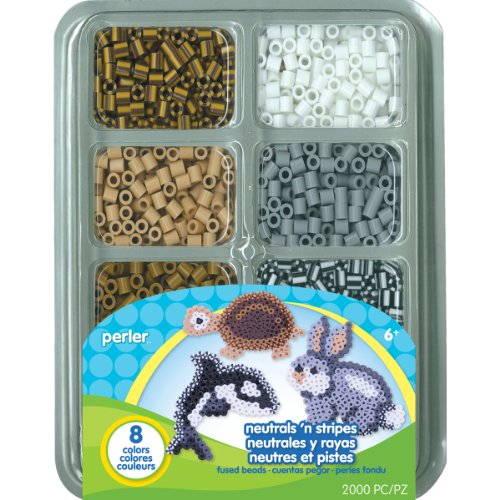 Perler Fun Fusion Fuse Bead Tray-Neutrals 'n Stripes - Stripe Package