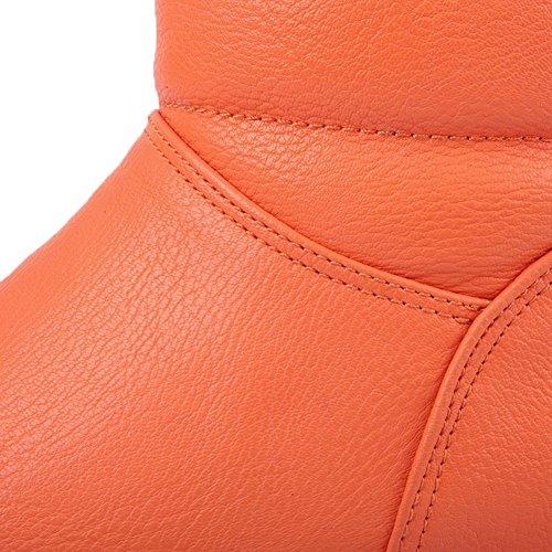 AgooLar Femme Matière Souple Haut Élevé Couleur Unie Tire à Talon Bas Bottes Orange