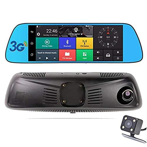 Dash Cam/Doppelobjektiv vorne und hinten/Touchscreen/Rückspiegelkamera / 1080P vorne 720P hinten/Fahraufnahme/Spurwiedergabe/Wechat Check Car/Bluetooth Call Mobile Call Recorder