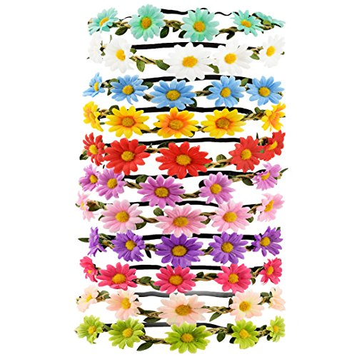 Tomkity 10 pezzi multicolore fasce del fiore con il nastro elastico regolabile (10pz margherita)