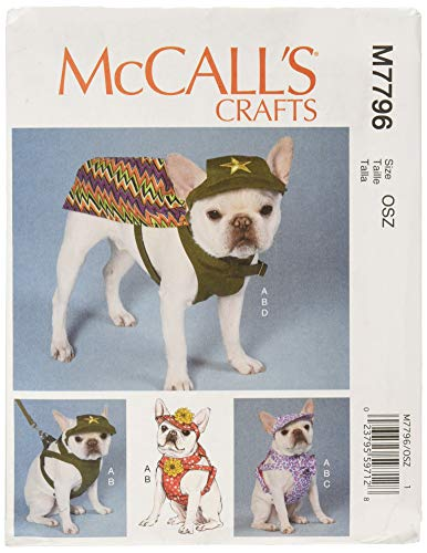 McCall's Patterns M7796 Dog Hats, Harness and Cape Schnittmuster, Papier, Multi, All Sizes