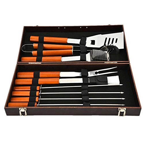 MNII Edelstahl Outdoor Zubehör Zubehör Holz Box Barbecue Tools Set Kombination von 10 Sets von Back-Sets