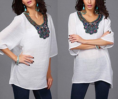 Bigood Chemise Grande Taille Femme Coton Chemisier Mi-longue Blouse Top Broderie Casual Eté Blanc