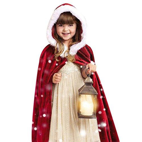 Xshuai Kinder Kinder Weihnachtskostüm Santa Kapuzen Cosplay Cape Robe für 90-160 cm höhe Junge Mädchen (Rot, 84cm) (Robe Gestreiften Baumwolle)