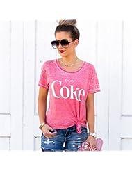 Impreso Hombro Camiseta , Rosado , Metro