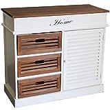 nxtbuy Schubladenschrank aus Holz in Weiß/Braun 82 x 35 x 72 cm - Vintage Schränkchen/Korbregal mit 3 Schubladen und 1 Tür - Kommodenschrank aus Echtholz