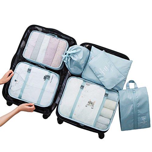 Dexinx Kleidertaschen-Set 7-teilig Reisetasche in Koffer Wäschebeutel Schuhbeutel Kosmetik Aufbewahrungstasche Himmelblau