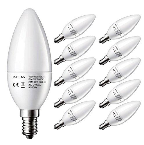 LED FACTORY 5W E14 LED Lampen 400lm, Warmweiß, Ersatz für 50W Glühlampen, 2800K, 160° Abstrahlwinkel, LED Leuchtmittel, Kerzenlampen, LED Birnen, Kerzenleuchten, 10er Pack -