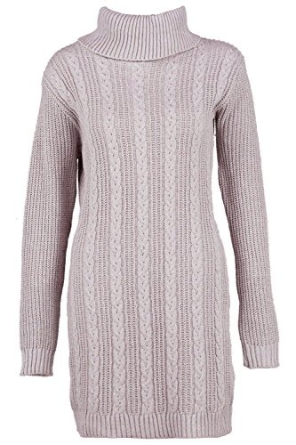 Gris Femmes Maisy Roll Neck Cable Knitted Dress Gris