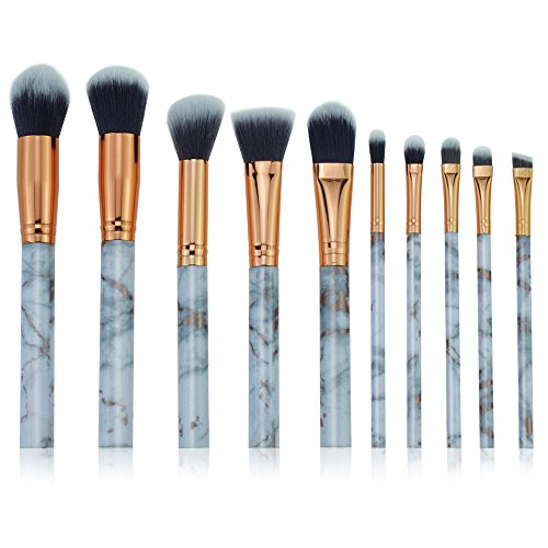POachers Beauty Kit de Pinceaux Maquillage Set 10pcs : Pinceaux Maquillage Professionnel - soies en fibres synthétiques douces et sans cruauté pour un look impeccable