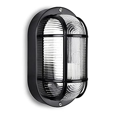 Modern Black Outdoor Garden Security Bulkhead LED Wall Light - IP44 Rated - Complete With 1 x LED Bulb
