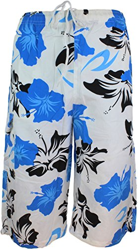 Herren Bermuda Short Badehose Strandhose Blumen Hawai Hose Badehose Badeshort weiss blau