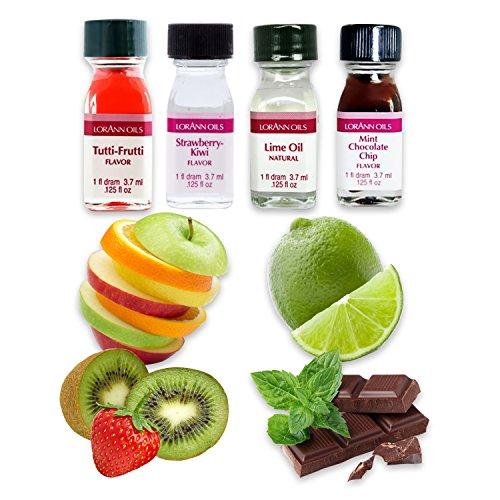 LorAnn Oils Backaroma SET Geschmacksexplosion   Limette   Erdbeer-Kiwi   Tutti Frutti   Schokolade-Minze