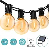 BRTLX Solare Catena Luminosa Lampadina Commerciale 18FT Impermeabile LED G40 Luci da Giardino con 12 Lampadine Luci del Patio per il Caffè Portico del Partito,2 Lampadine di Ricambio